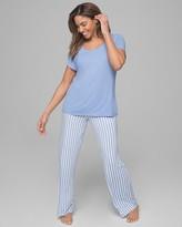 Cool Nights Short Sleeve Pajama Set Capri Stripe W Grapemist RG