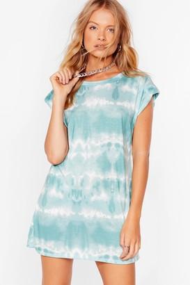 Nasty Gal Womens Flying Colors Shoulder Pad Tie Dye Dress - Blue - 6, Blue