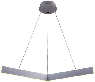 """Design Living Metal and Acrylic """"Y"""" Shaped Frame LED Light Fixture, Gray"""