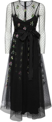 RED Valentino Embroidered Tulle Midi Dress W/ Bow