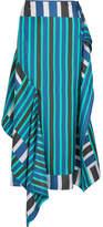 Diane von Furstenberg Striped Silk Crepe De Chine Midi Skirt - Teal