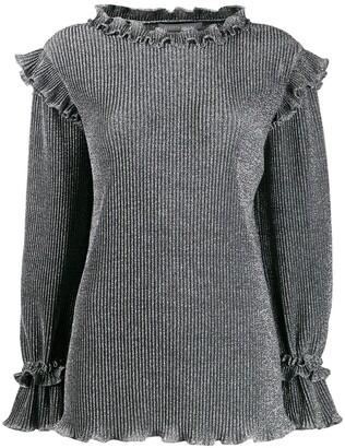 Alberta Ferretti Metallic Knit Ruffled Sweater