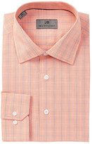 JB Britches Orange Plaid Trim Fit Dress Shirt