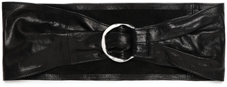 IRO Ring-embellished Textured-leather Belt