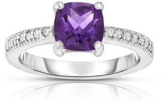Noray Designs 14k White Gold Checkerboard Amethyst and 1/8ct TDW Diamond Ring
