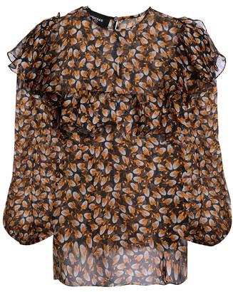 Rochas Ruffled Printed Silk-chiffon Blouse