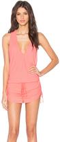 Luli Fama Cosita Buena Cover Ups T-Back Mini Dress in Fire Coral (L177979)