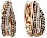 Effy Jewelry Effy Espresso 14K Rose Gold Cognac and White Diamond Earrings, .71 TCW