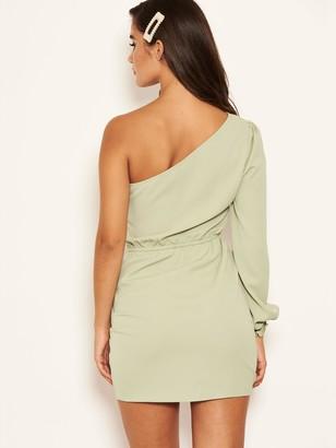 Ax Paris Petite One Sleeve Ruched Dress - Sage