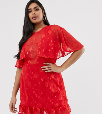 Lasula Plus plunge cape mini dress with frill hem in red lace overlay