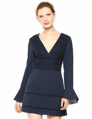 Finders Keepers findersKEEPERS Women's Lunar Bell Sleeve Lace Combo Short Mini Dress