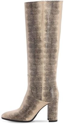 Strategia 80mm Lizard Print Leather Tall Boots