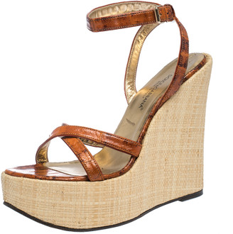 Dolce & Gabbana Tan/Beige Leather Strappy Wedge Sandals Size 39