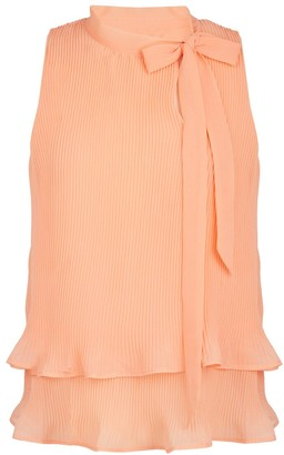 Naf Naf Ruffled Pussy-Bow Blouse with High-Neck