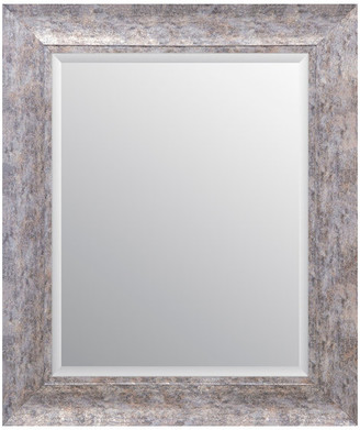 """Patton Wall Decor 16""""x20"""" Distressed Scoop Framed Beveled Accent Mirror, Distressed Silv"""