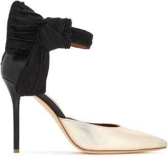 Malone Souliers X Emanuel Ungaro + Emanuel Ungaro Knotted Leather And Satin Pumps