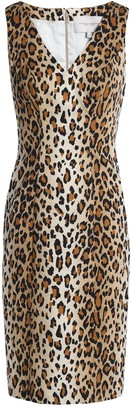 Carolina Herrera Leopard-print Cotton-blend Woven Dress
