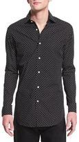Ralph Lauren Dot-Print Long-Sleeve Sport Shirt, Black/White