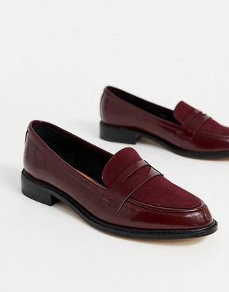 Asos Design DESIGN Mantra loafer flat shoes in burgundy-Red