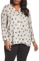 Nic+Zoe Plus Size Women's Morning Commute Long Sleeve Blouse