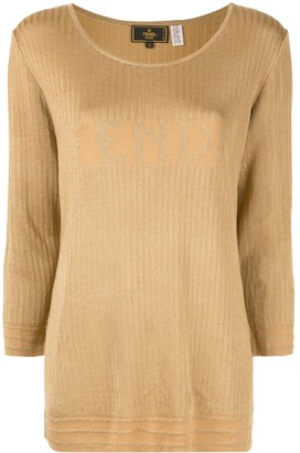 Fendi Pre Owned Logo Jacquard Jumper