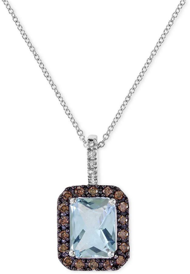 Effy Aquamarine (1-9/10 ct. t.w.) and Diamond (1/3 ct. t.w.) Pendant Necklace in 14k White Gold
