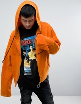 Granted Cropped Hoodie In Orange With Super Long Sleeves