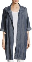 Eileen Fisher Textured Organic Cotton Steel Coat