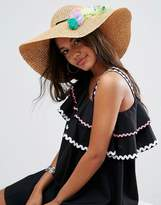 Asos Straw Floppy Hat With Multi Tassel And Pom Trim