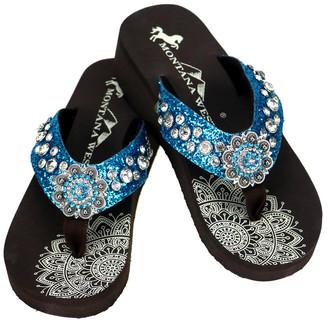 Montana West Women's Flip-Flops TURQUOISE - Turquoise & Black Mandala Rhinestone-Embellished Wedge Flip-Flop - Women