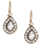 Azaara Vintage Delicate Swarovski Crystal Antiqued Teardrop Earrings