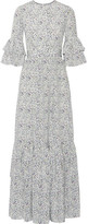 Co Ruffled Floral-print Silk Crepe De Chine Maxi Dress - Blue