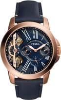 Fossil Men's 44mm Blue Leather Band Steel Case Quartz Multicolor Dial Chronograph Watch ME1162