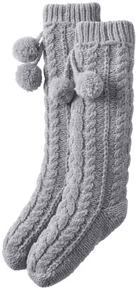 Lands' End Womens Chenille Cable Knit Slipper Socks