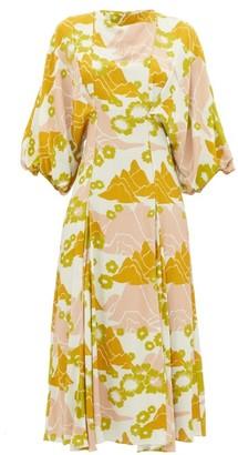 Ssōne Ssone - Mountain Balloon-sleeve Floral-print Midi Dress - Multi