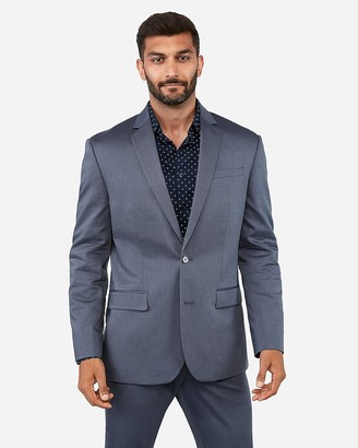 Express Classic Dusty Blue Cotton Oxford Stretch Suit Jacket
