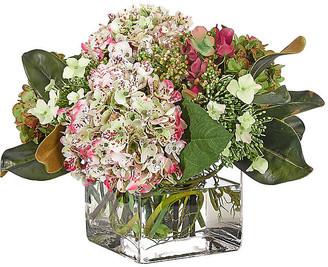 """17"""" Hydrangea in Cube Vase - Faux - NDI - arrangement, pink/green; vessel, clear"""
