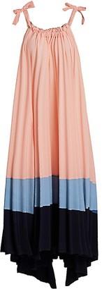 Issey Miyake Panorama Pleated High-Low Maxi Dress