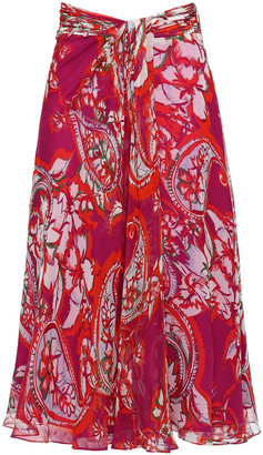 Prabal Gurung Gathered Floral-print Silk Crepe De Chine Skirt
