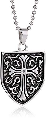 Black Diamond Cold Steel Stainless Steel 0.05Ct Celtic Cross Shield Men's Pendant Necklace