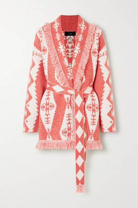 Alanui Baja Belted Fringed Cashmere-blend Jacquard Cardigan - Red