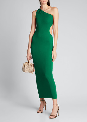 Brandon Maxwell Jersey One-Shoulder Cutout Bodycon Dress