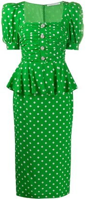 Alessandra Rich Polka Dot Midi Dress