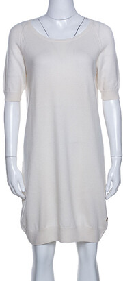 Loro Piana Cream Knit Short Sleeve Shift Dress M