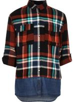 River Island Girls orange check layered shirt