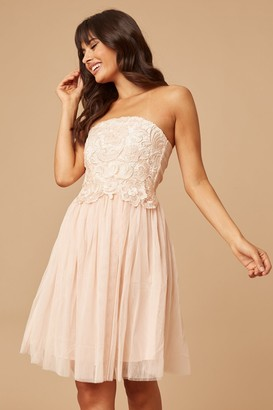 Little Mistress Cream/Nude Lace Overlay Bandeau Prom Dress