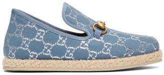 Gucci Blue Lame GG Horsebit Loafers