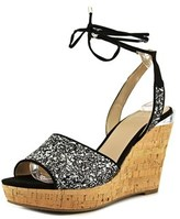GUESS Edinna Open Toe Canvas Wedge Sandal.