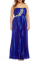 Masquerade Plus Strapless Silky Pleated Long Dress