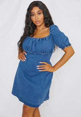 Missguided Plus Size Blue Ruched Bust Denim Mini Dress